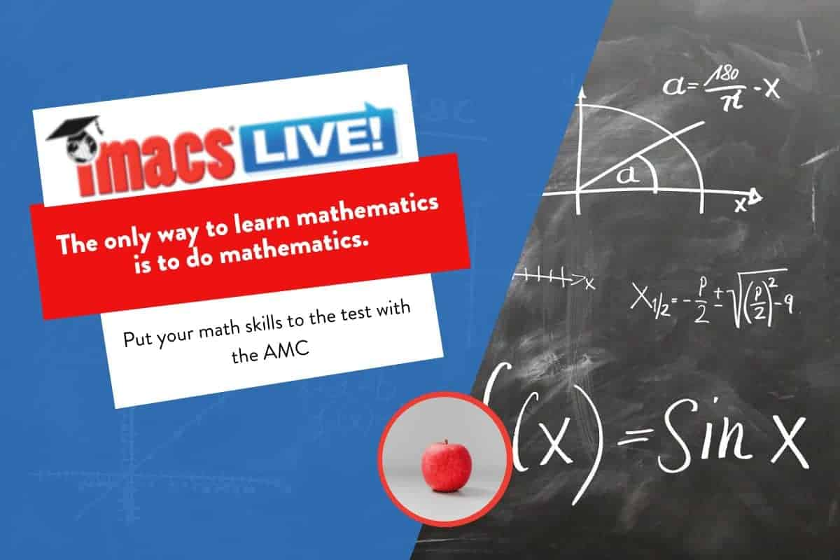 """Text on image: """"The only way to learn math is to do math."""" The AMC-8 is such a great way for kids to get excited about problem solving."""