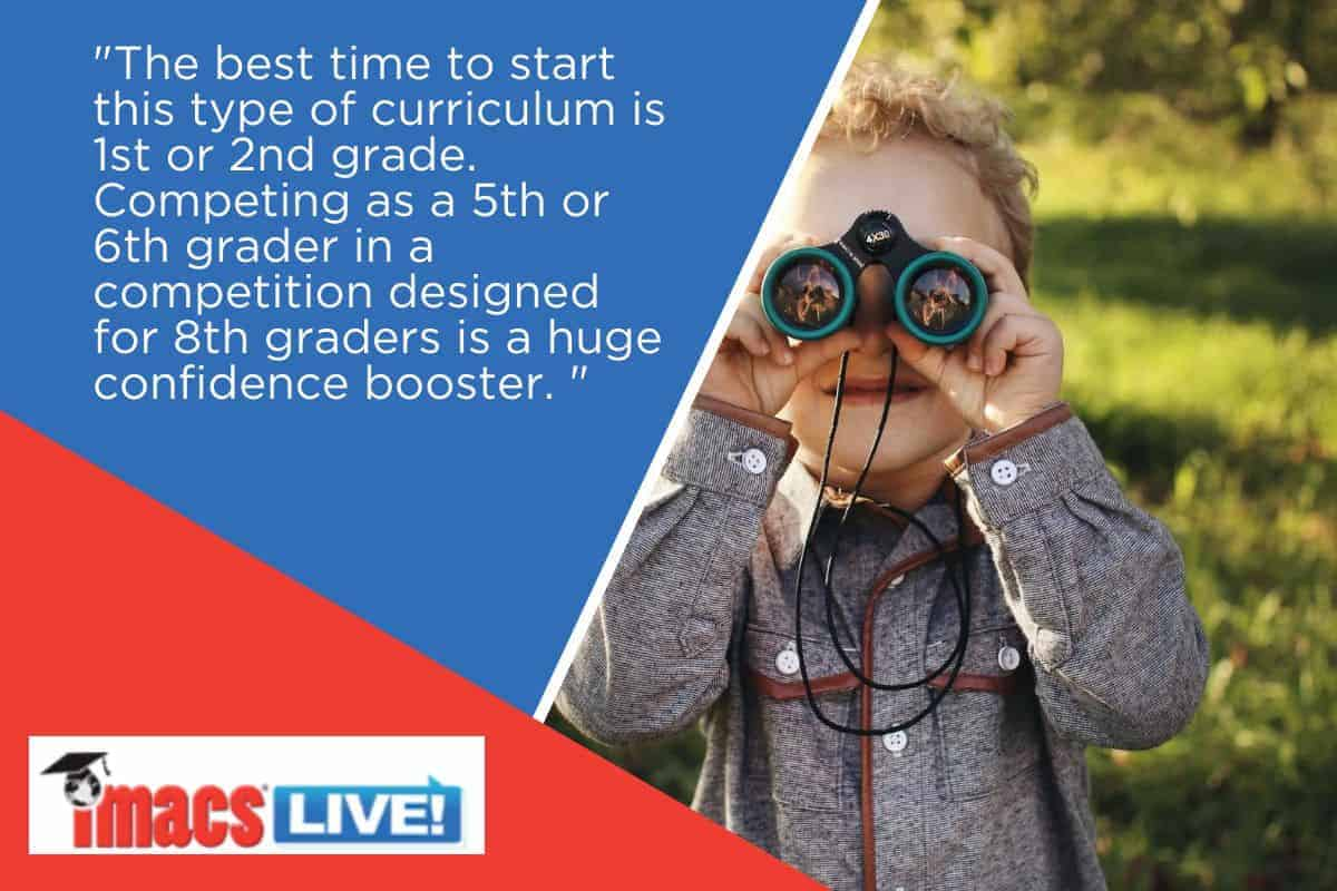 When is the best time to build the skills to succeed on the AMC? Picture of boy with binoculars and text of reasons to start early.