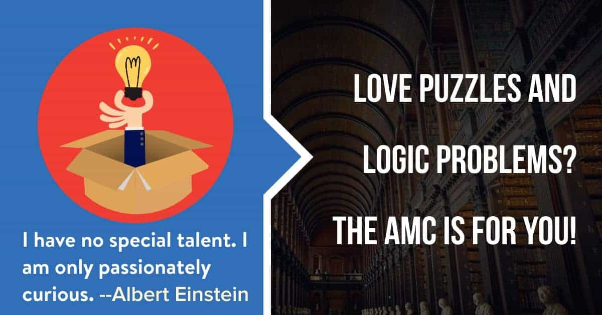 """A picture of a lightbulb coming out of a box and an answer to the question, """"Who is the AMC for?"""" It is for kids who love puzzles, math and logic."""
